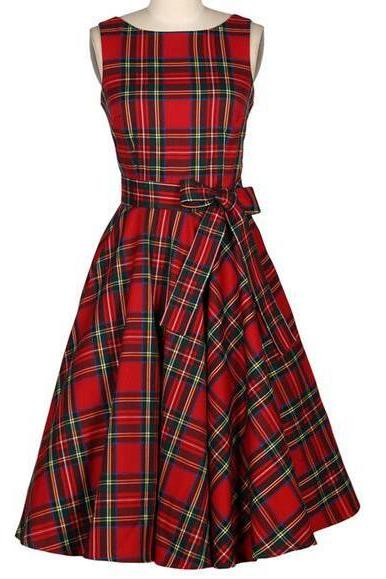 Vintage Tartan Sleeveless Party Dress Vintage Hepburn Stlye Fit And Flare Dress
