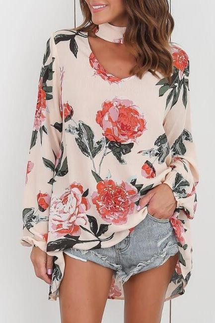Floral Print Choker Neck Plunge V Long Cuff-Sleeved Top