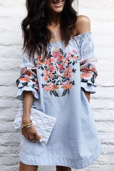 Vintage Blue Floral Embroidery Off Shoulder Dress