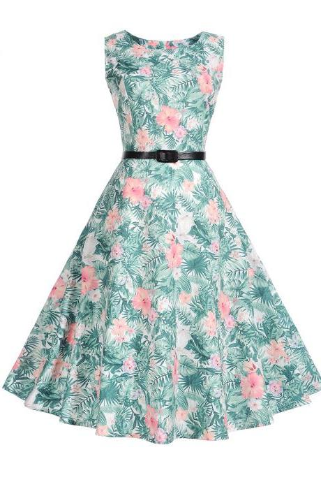 Vintage Blue Floral Printed Sleeveless Dress Vintage Hepburn Stlye Fit And Flare