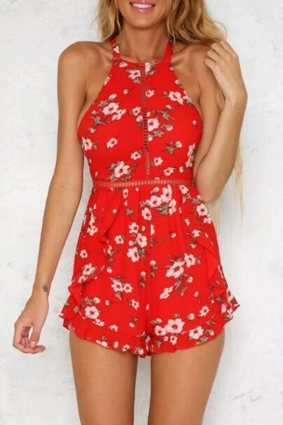 Boho Red Floral Prints Halter Romper Featuring Open Back