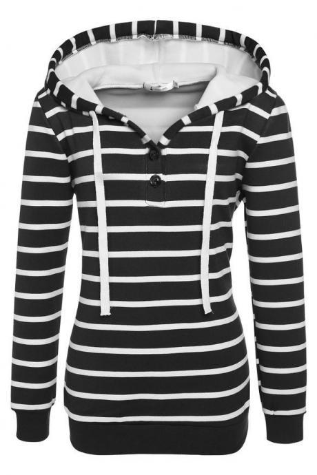 Women Fashion Striped Hoodie Sweater Sweatshirt Top