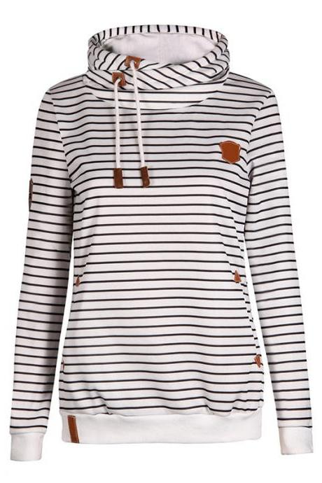 Striped Hoodie Long Sleeve Sweatshirt White Blue Navy