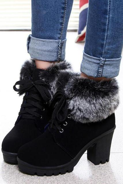 FAST SHIPPING Fall/ Winter Fashion Women Lace Up Heeled Boots With Fur Ankle Snow Booties Black Brown