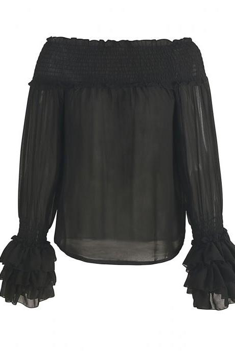 Sexy Black See-through Chiffon Blouse Off-the-shoulder Top
