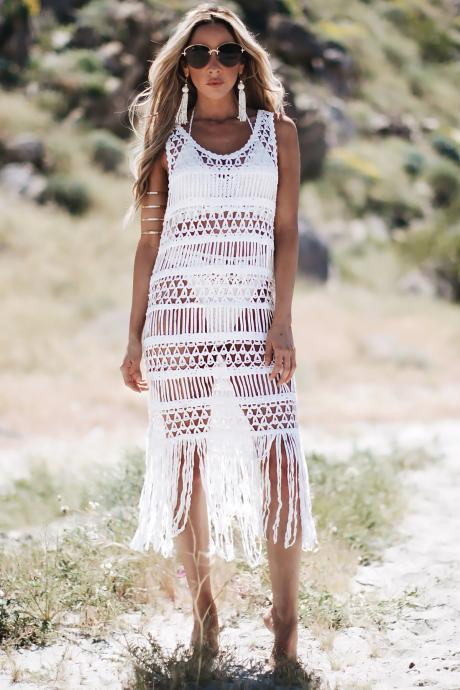 Crochet Boho Tassel Maxi Dress Sleeve Less Beach Dress Black White