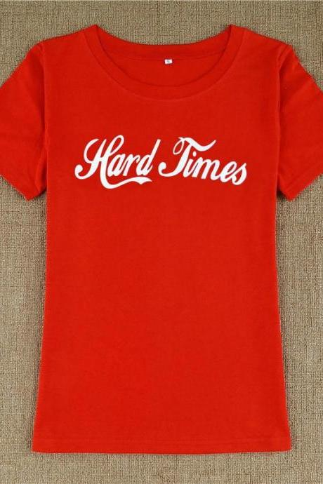 FREE SHIPPING Hard Times Print Top Red T-shirt