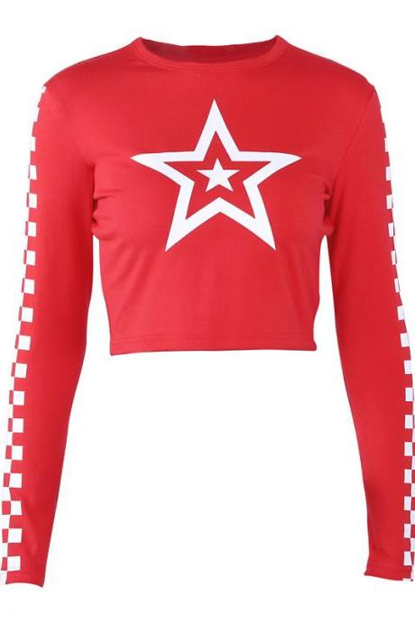 FREE SHIPPING Star Print Long Sleeve T-shirt Red Top