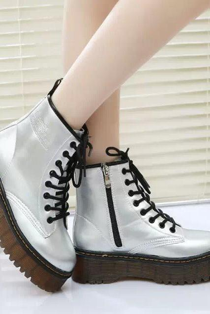 FREE SHIPPING Fall/ Winter Silver Metallic Martin Boots