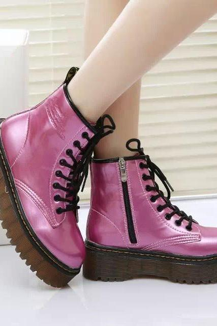 FREE SHIPPING Fall/ Winter 2016 Fuchsia Metallic Martin Boots