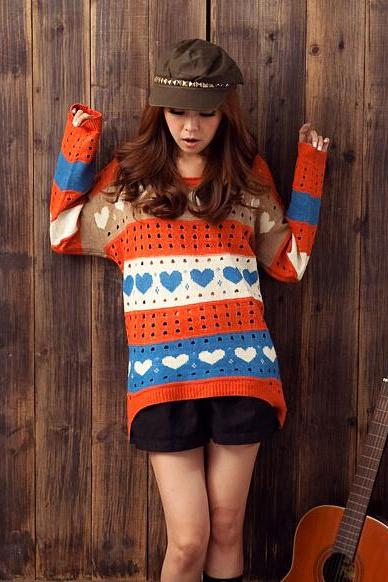 FREE SHIPPING Lovely Heart Hollow Out Sweater
