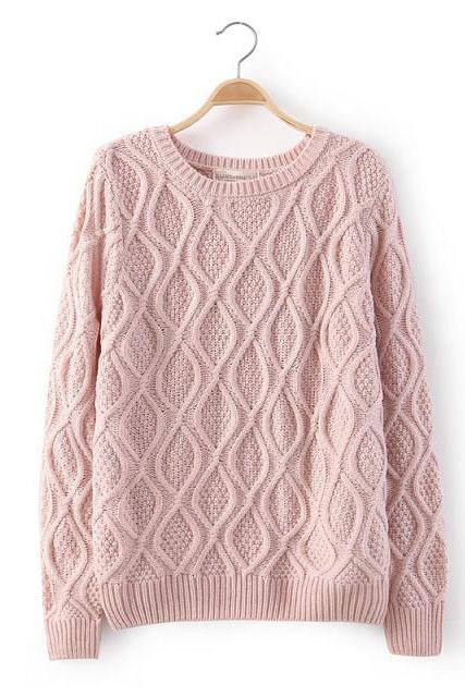FREE SHIPPING Retro Knit Crew Neck Sweater