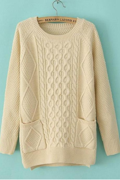 FREE SHIPPING Retro Pockets Knit Sweater