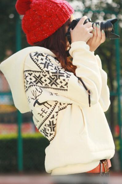 FREE SHIPPING Fleece Deer Hooded Sweater