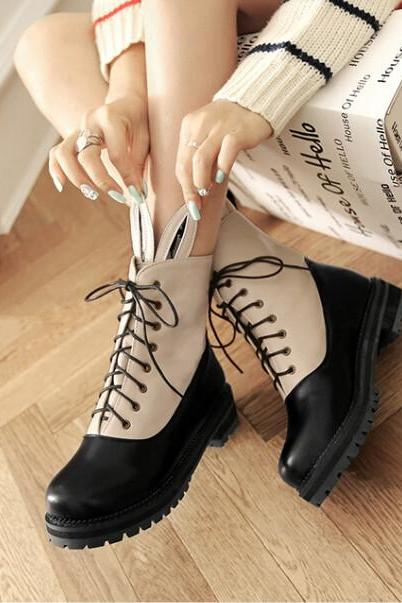 FREE SHIPPING Fall/ Winter 2016 Cute Ear Rabbit Beige Martin Boots
