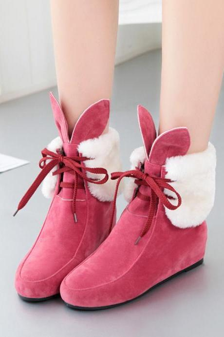 FREE SHIPPING Fall/ Winter 2016 Cute Ear Rabbit Fuchsia Snow Boots