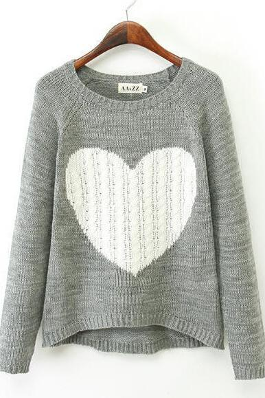 FREE SHIPPING Cute Heart Pattern Sweater