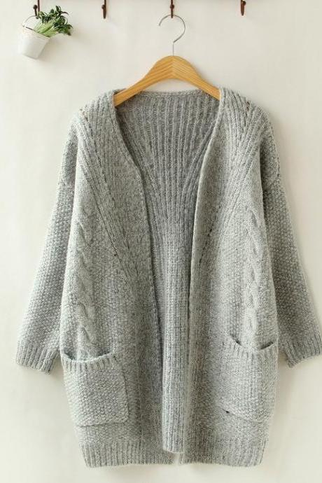 Grey Knitted Open Front Cardigan with Pockets