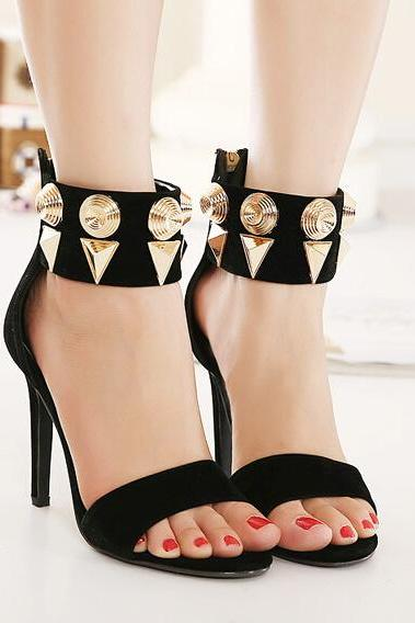 Open-Toe Studded Ankle Strap Stiletto, High Heels, Party Heels