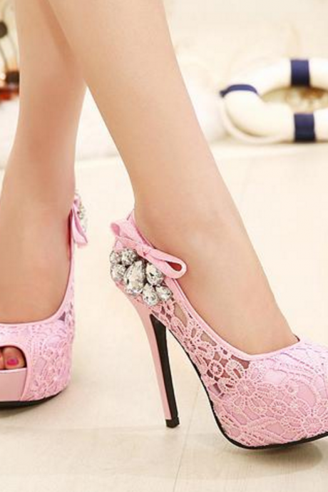 FREE SHIPPING F/W 2016 Embroidered Crystal High Heels Stiletto
