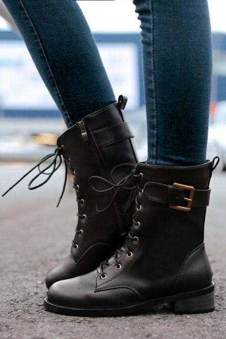 FREE SHIPPING Fall/ Winter 2016 Buckled College Black Boots