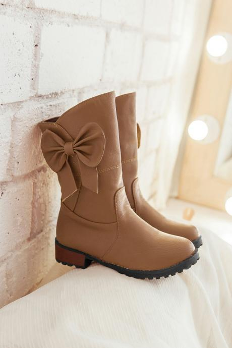 FREE SHIPPING Fall/ Winter 2016 Cute Bow Brown Boots