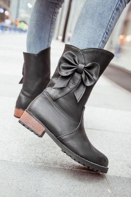 FREE SHIPPING Fall/ Winter 2016 Cute Bow Black Boots