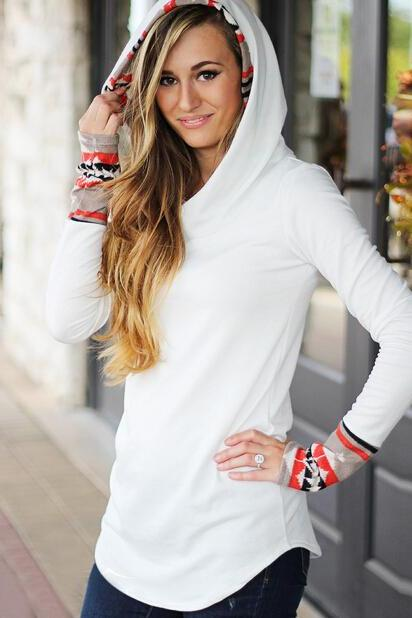 FREE SHIPPING Fall/Winter Long Sleeve Tribal Print Hoodie Sweater Sweatshirt