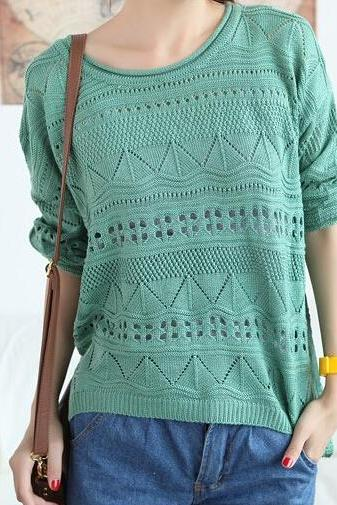 FREE SHIPPING 2016 Green Round Neck Loose Fit Sweater