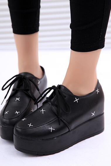 FREE SHIPPING Fashion Black Harajuku Platform Creepers Shoes