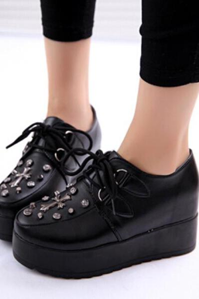 FREE SHIPPING Fashion Black Harajuku Cross Platform Creepers Shoes