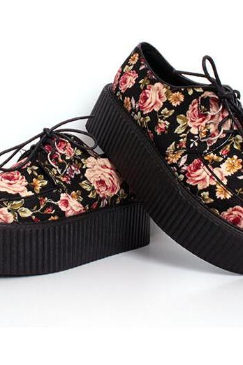 FREE SHIPPING Fashion Floral Harajuku Platform Creepers Shoes