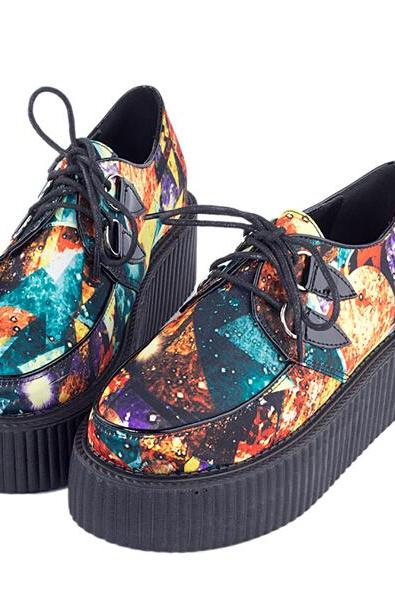 FREE SHIPPING Fashion Harajuku Galaxy Platform Creepers Shoes