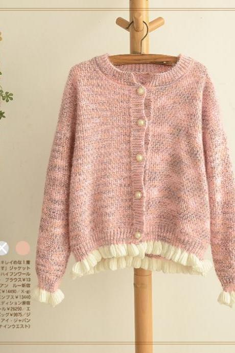 FREE SHIPPING Cute Ruffle Hem Long Sleeve Cardigan