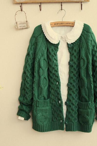 FREE SHIPPING Vintage Pockets Cable Cardigan