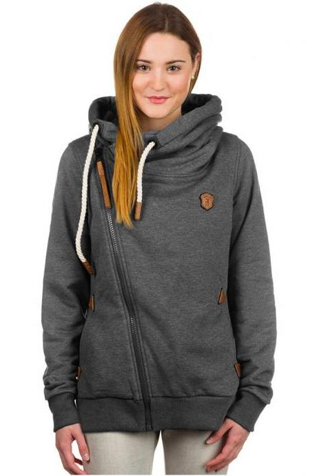 FREE SHIPPING Long Sleeve Zipper Hoodie Sweater Sweatshirt