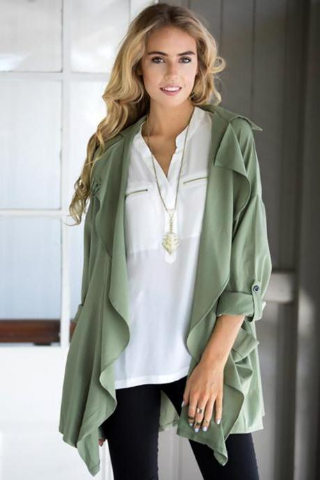 FREE SHIPPING Army Green Lapel Loose Fit Jacket