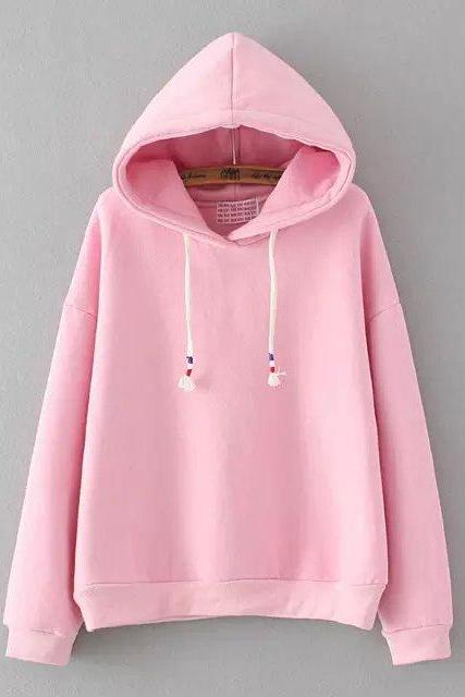 FREE SHIPPING Cute Pastel Color Long Sleeve Hooded Sweater