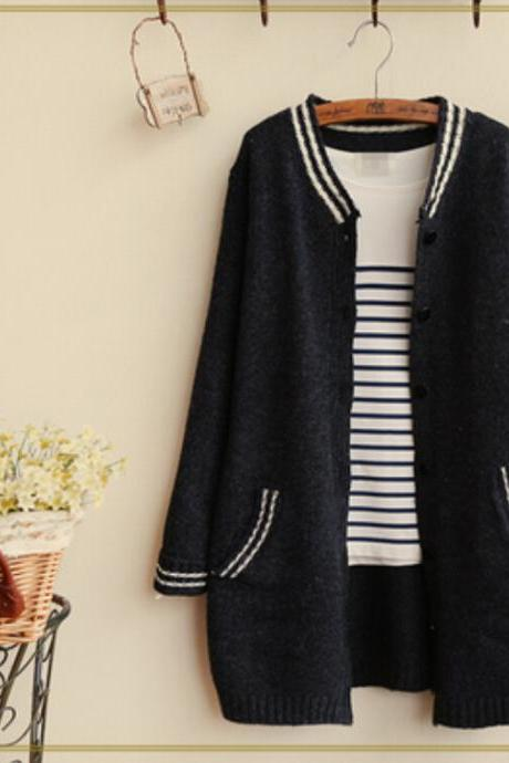 FREE SHIPPING Vintage Button Up Knitted Pockets Cardigan
