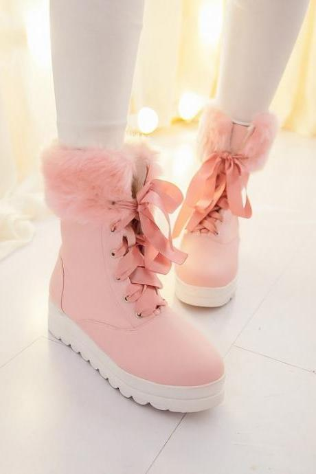 FREE SHIPPING Cute Pink Lace Up Fur Snow Boot