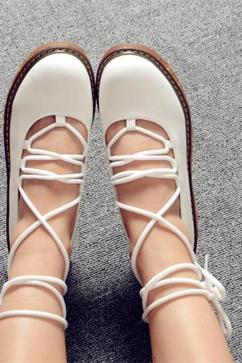 FREE SHIPPING Cute White Lace Up Round Toe Flat Shoes
