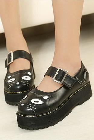 FREE SHIPPING Cute Black Harajuku Cat Platform Shoes