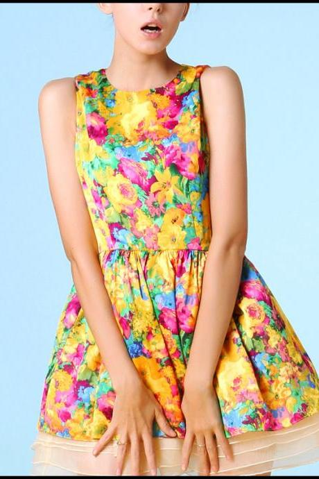 FREE SHIPPING Floral Printed Sleeveless Organza Dress