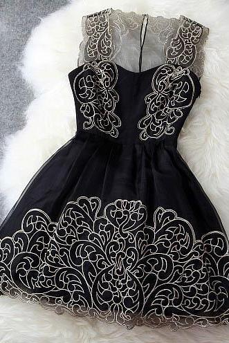 FREE SHIPPING Floral Embroidery Sleeveless Organza Dress
