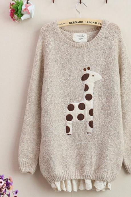 FREE SHIPPING Cute Beige Giraffe Pattern Lace Hem Sweater