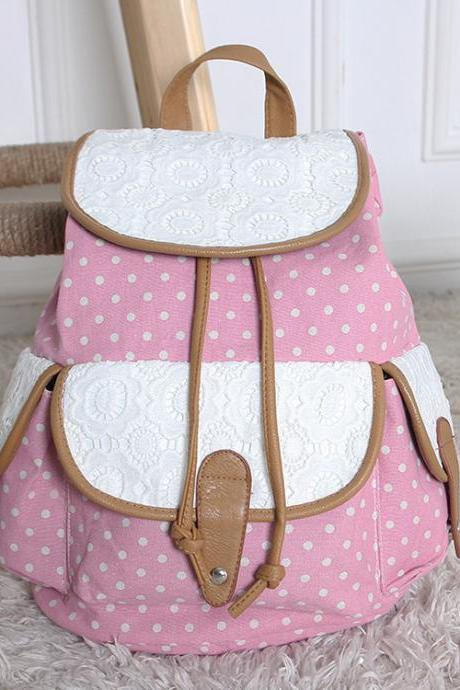 FREE SHIPPING Pastel Pink Dot and Lace Canvas Backpack