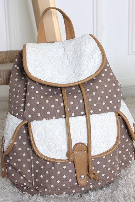 FREE SHIPPING Khaki Dot and Lace Canvas Backpack