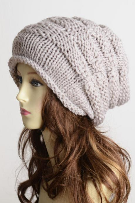 FREE SHIPPING Handmade Slouchy Knitted Hat