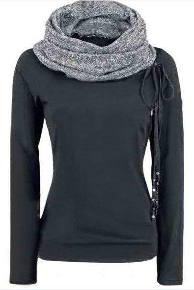 FREE SHIPPING Black Long Sleeve Turtleneck Top Sweatshirt