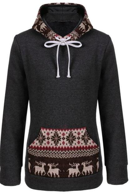 FREE SHIPPING Retro Dark Grey Tribal Print Big Hoooded Sweater